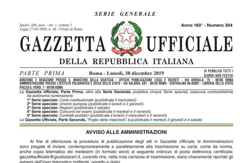 Anteprima testo Legge di Bilancio 2019, pubblicato sulla Gazzetta Ufficiale.